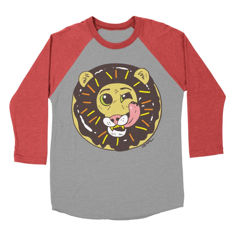 Donut Lion Men's Baseball Triblend Longsleeve T-Shirt by brianmcl's Artist Shop