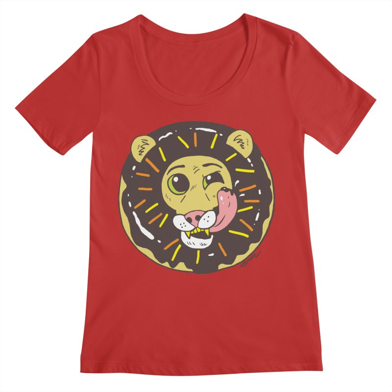 Donut Lion Women's Regular Scoop Neck by brianmcl's Artist Shop