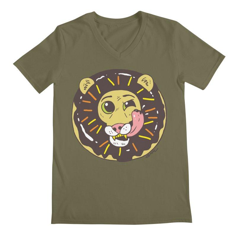 Donut Lion Men's Regular V-Neck by brianmcl's Artist Shop