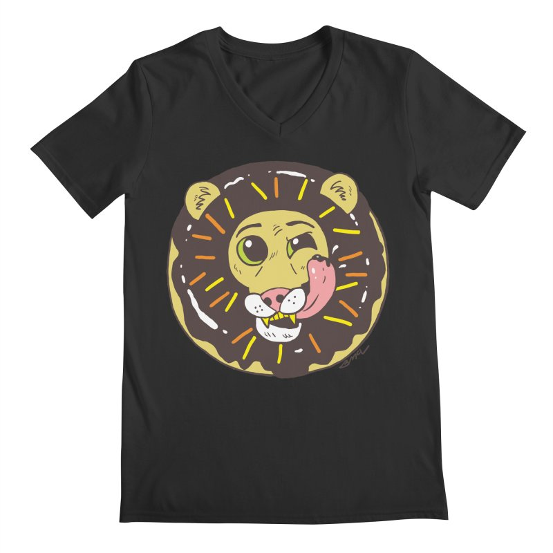 Donut Lion Men's Regular V-Neck by brianmcl's Artist Shop