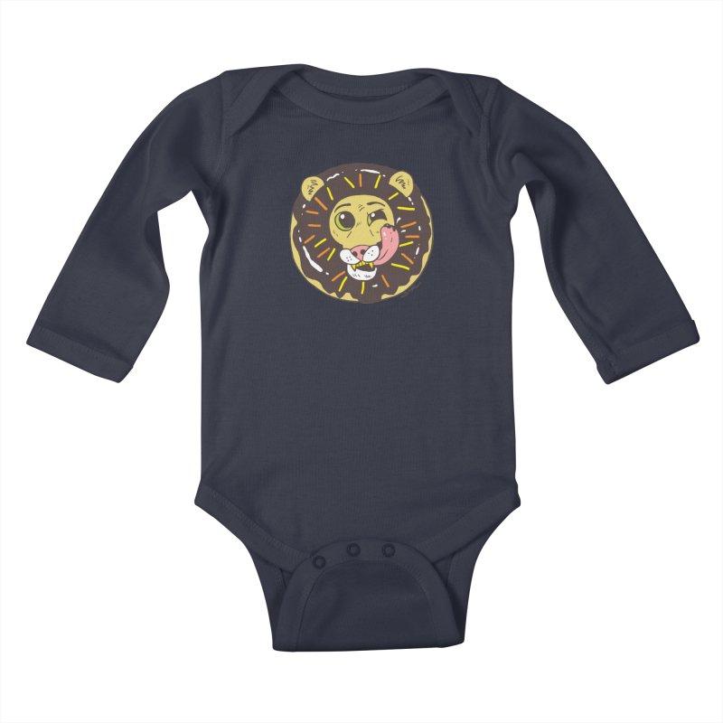 Donut Lion Kids Baby Longsleeve Bodysuit by brianmcl's Artist Shop