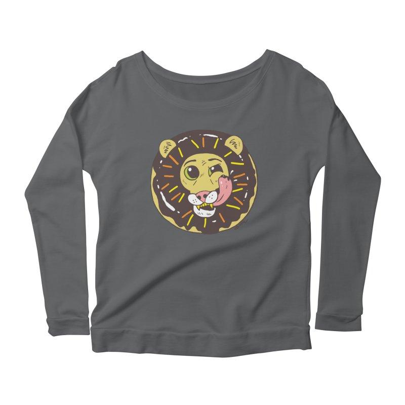 Donut Lion Women's Scoop Neck Longsleeve T-Shirt by brianmcl's Artist Shop