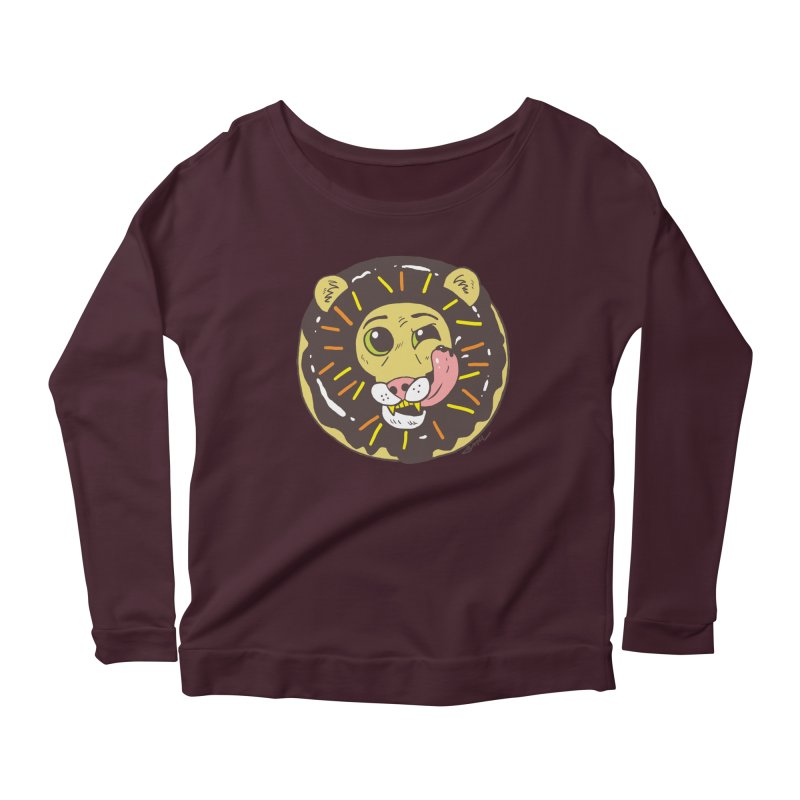 Donut Lion Women's Scoop Neck Longsleeve T-Shirt by brianmcl's Artist Shop