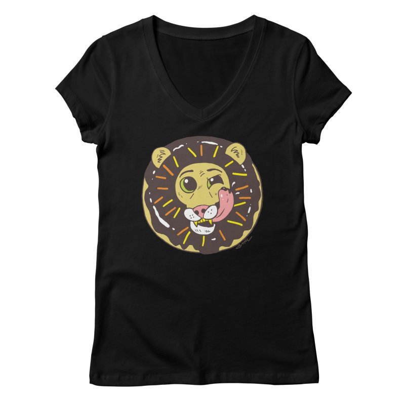 Donut Lion Women's V-Neck by brianmcl's Artist Shop