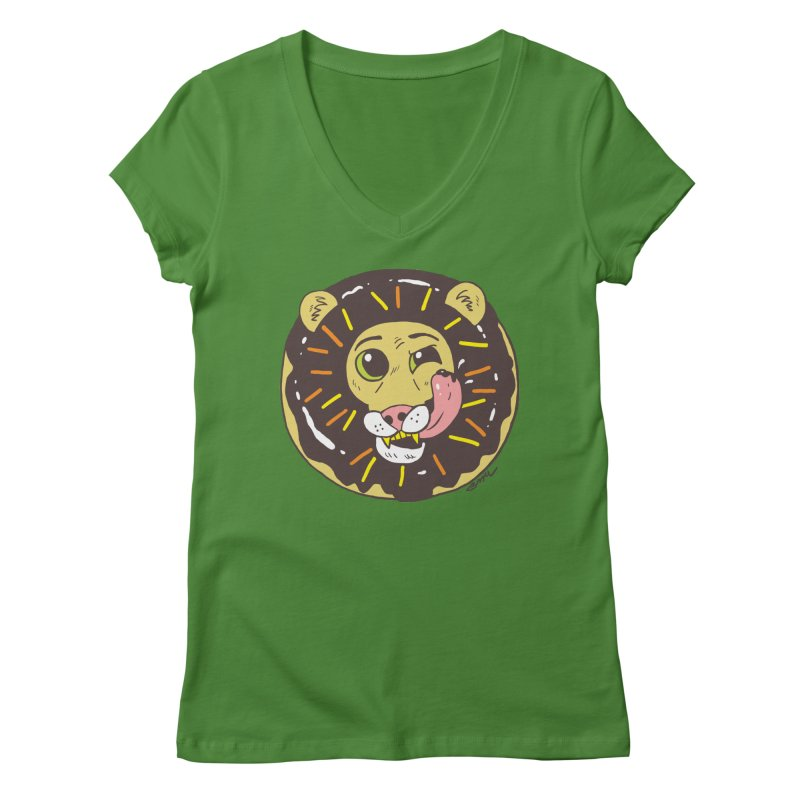 Donut Lion Women's Regular V-Neck by brianmcl's Artist Shop