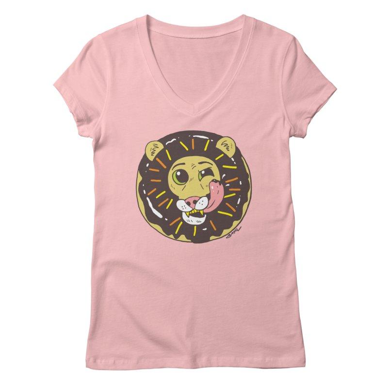 Donut Lion Women's Regular V-Neck by brianmcl's Artist Shop