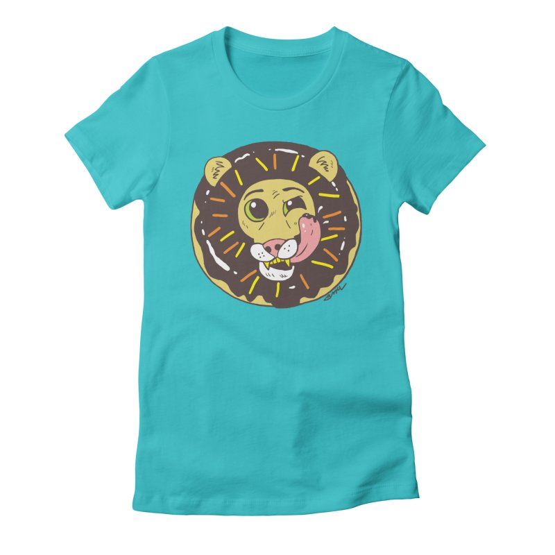 Donut Lion Women's Fitted T-Shirt by brianmcl's Artist Shop