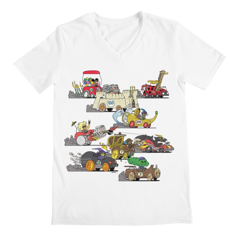Wild Racers Men's V-Neck by brianmcl's Artist Shop