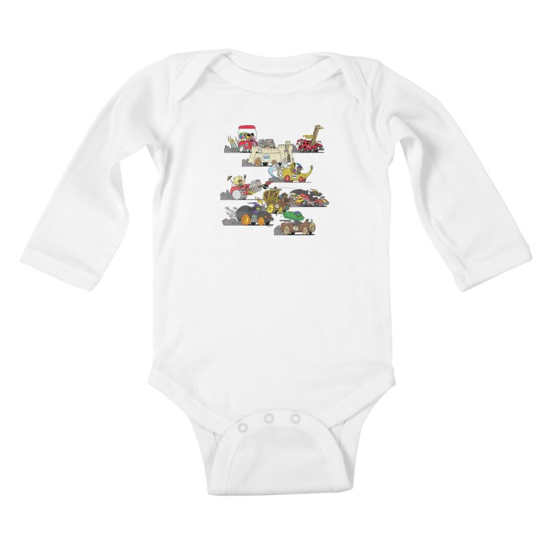 Wild Racers Kids Baby Longsleeve Bodysuit by brianmcl's Artist Shop