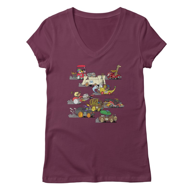 Wild Racers Women's Regular V-Neck by brianmcl's Artist Shop