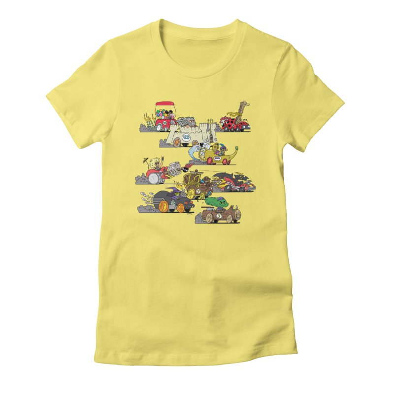 Wild Racers Women's Fitted T-Shirt by brianmcl's Artist Shop
