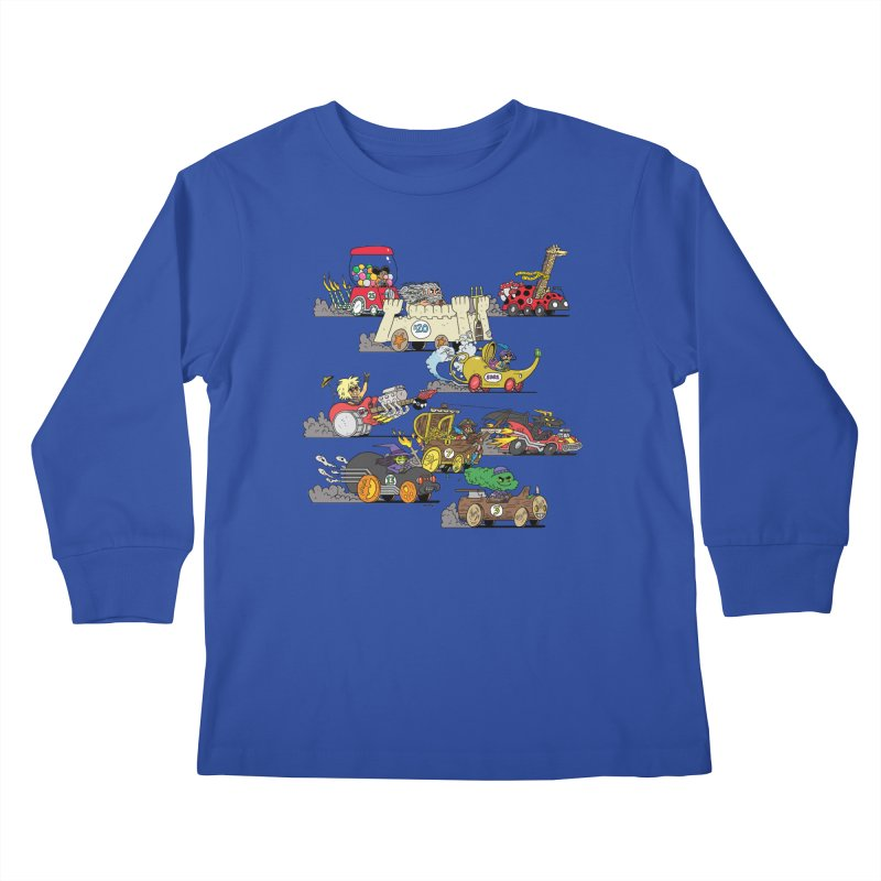 Wild Racers Kids Longsleeve T-Shirt by brianmcl's Artist Shop