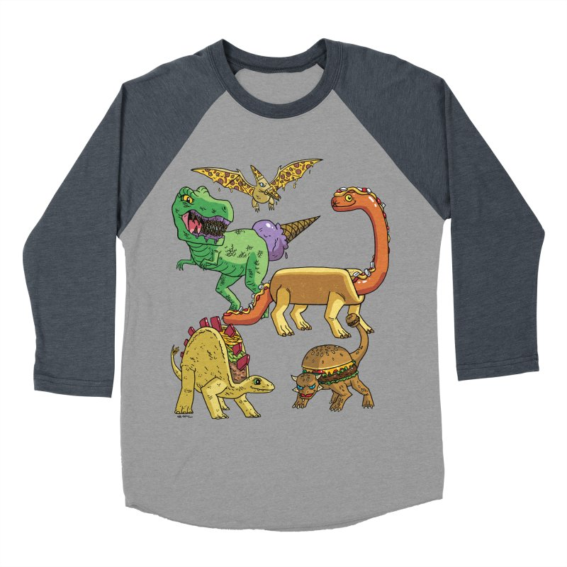 Jurassic Junk Food Women's Baseball Triblend Longsleeve T-Shirt by brianmcl's Artist Shop