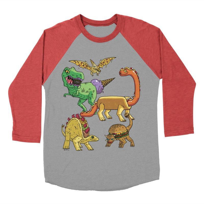 Jurassic Junk Food Men's Baseball Triblend Longsleeve T-Shirt by brianmcl's Artist Shop