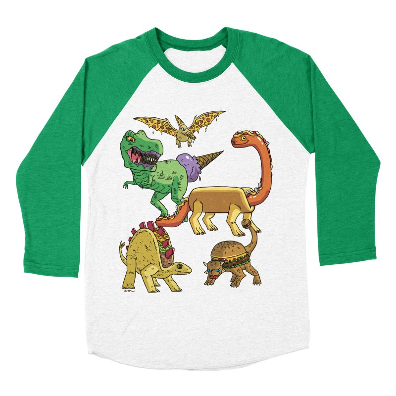 Jurassic Junk Food Men's Baseball Triblend Longsleeve T-Shirt by brianmcl's Artist Shop