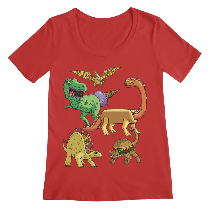 Jurassic Junk Food Women's Regular Scoop Neck by brianmcl's Artist Shop