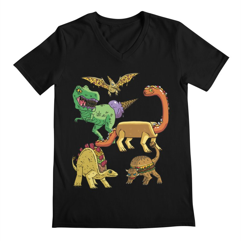 Jurassic Junk Food Men's Regular V-Neck by brianmcl's Artist Shop