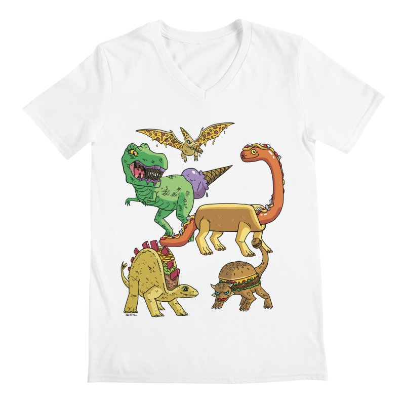 Jurassic Junk Food Men's V-Neck by brianmcl's Artist Shop