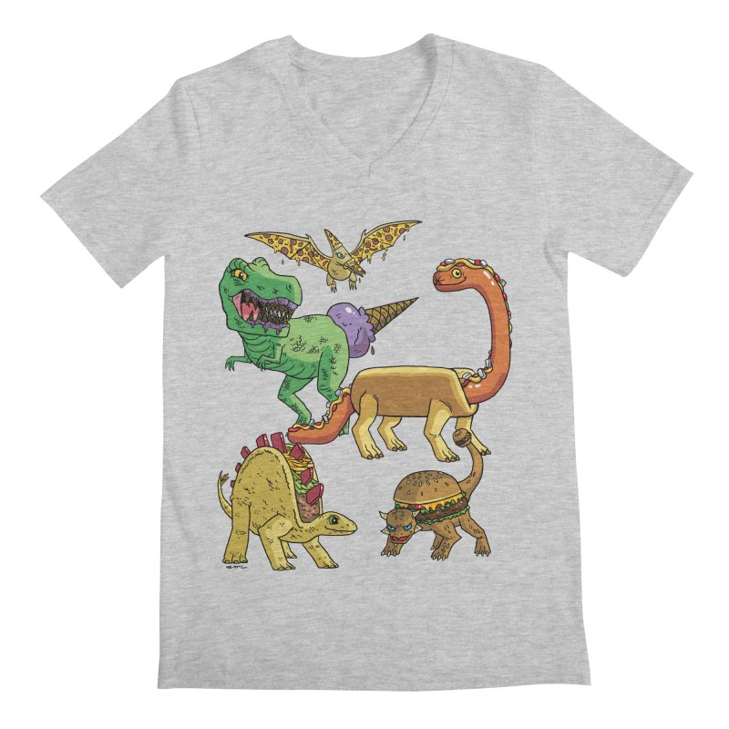 Jurassic Junk Food Men's Regular V-Neck by brianmcl's Artist Shop
