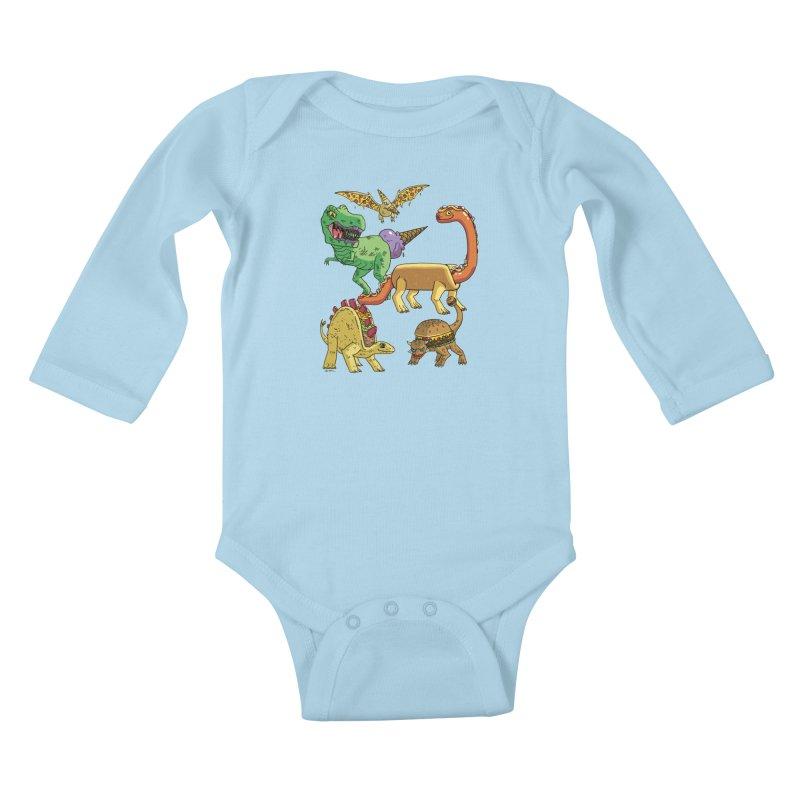 Jurassic Junk Food Kids Baby Longsleeve Bodysuit by brianmcl's Artist Shop