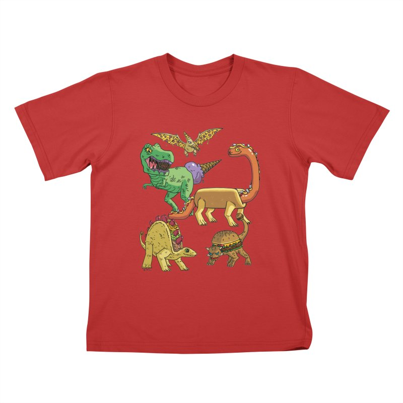Jurassic Junk Food Kids T-Shirt by brianmcl's Artist Shop