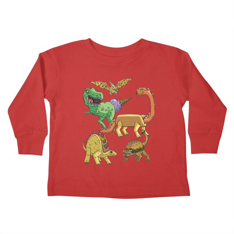Jurassic Junk Food Kids Toddler Longsleeve T-Shirt by brianmcl's Artist Shop