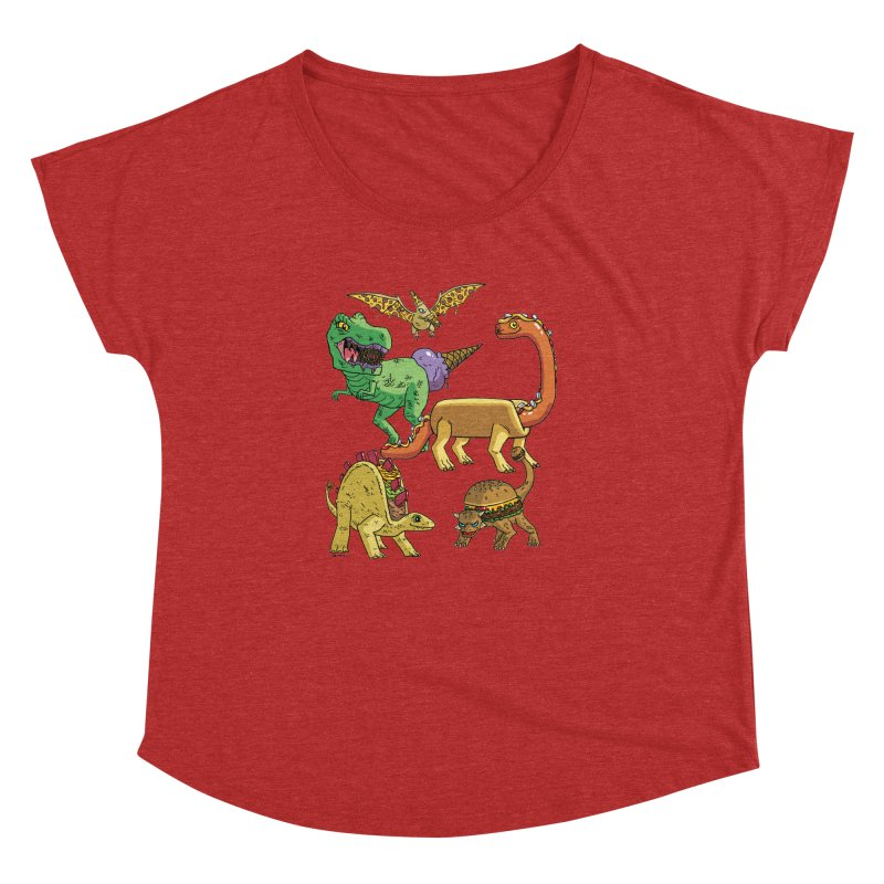 Jurassic Junk Food Women's Dolman Scoop Neck by brianmcl's Artist Shop