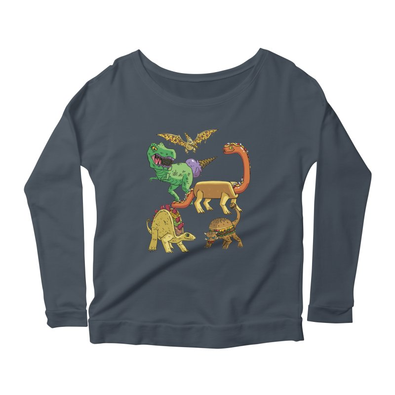 Jurassic Junk Food Women's Scoop Neck Longsleeve T-Shirt by brianmcl's Artist Shop