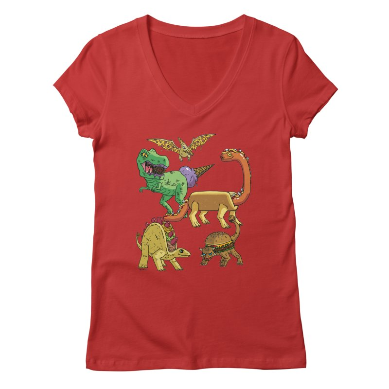 Jurassic Junk Food Women's Regular V-Neck by brianmcl's Artist Shop