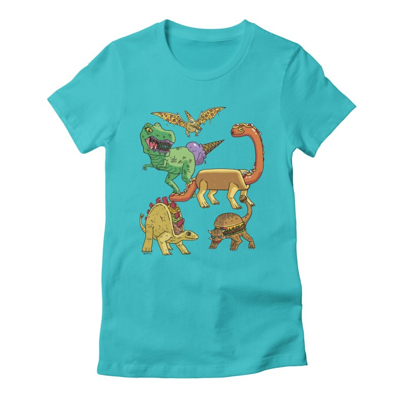 Jurassic Junk Food Women's Fitted T-Shirt by brianmcl's Artist Shop