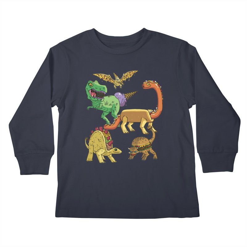 Jurassic Junk Food Kids Longsleeve T-Shirt by brianmcl's Artist Shop