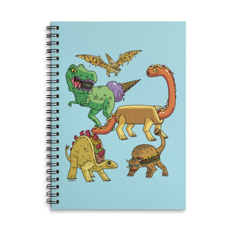 Jurassic Junk Food Accessories Lined Spiral Notebook by brianmcl's Artist Shop