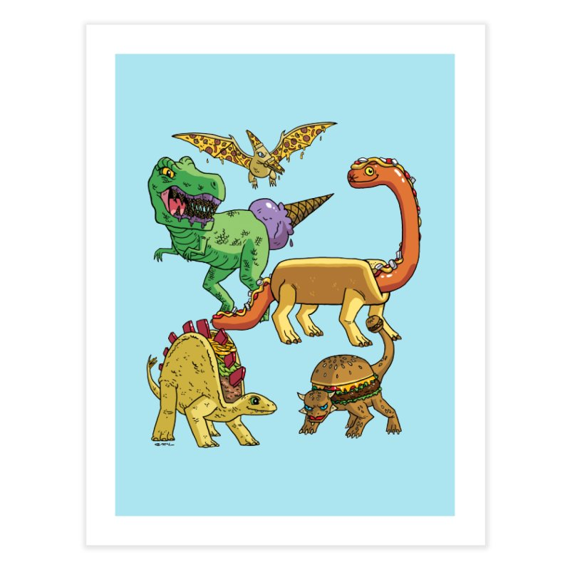 Jurassic Junk Food Home Fine Art Print by brianmcl's Artist Shop