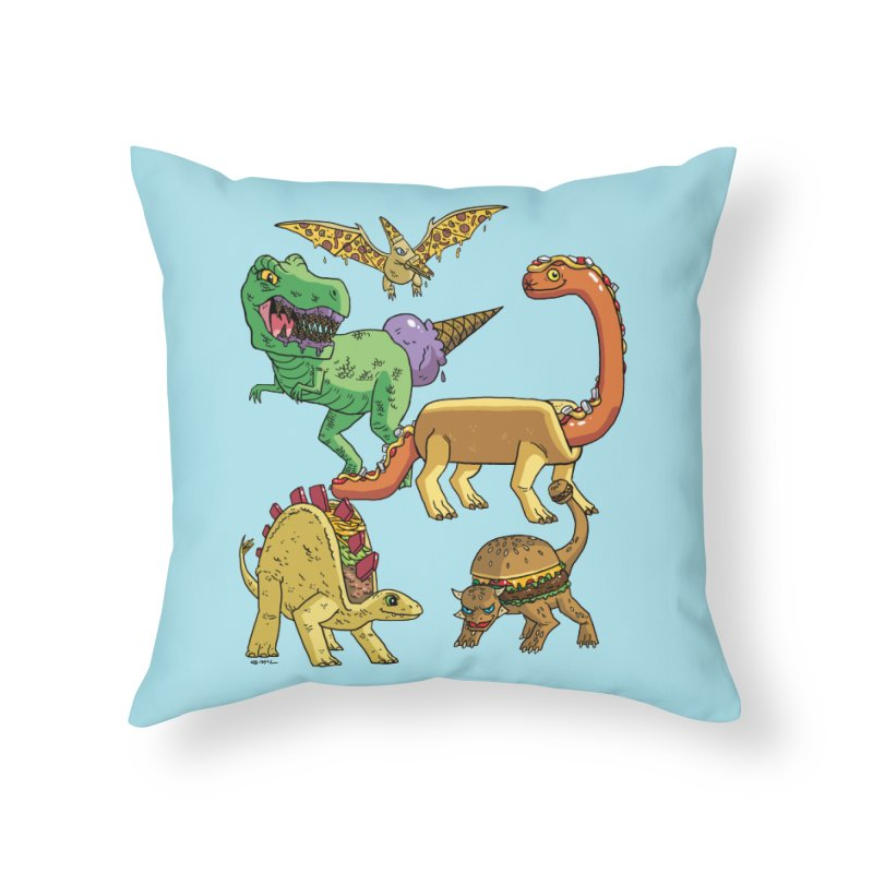 Jurassic Junk Food Home Throw Pillow by brianmcl's Artist Shop