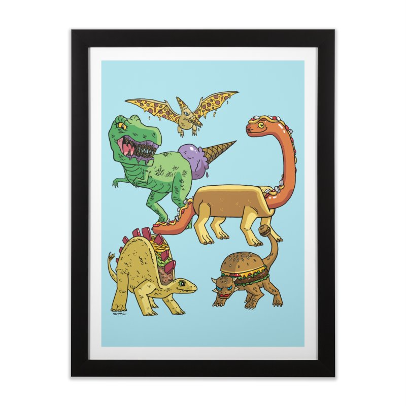 Jurassic Junk Food Home Framed Fine Art Print by brianmcl's Artist Shop