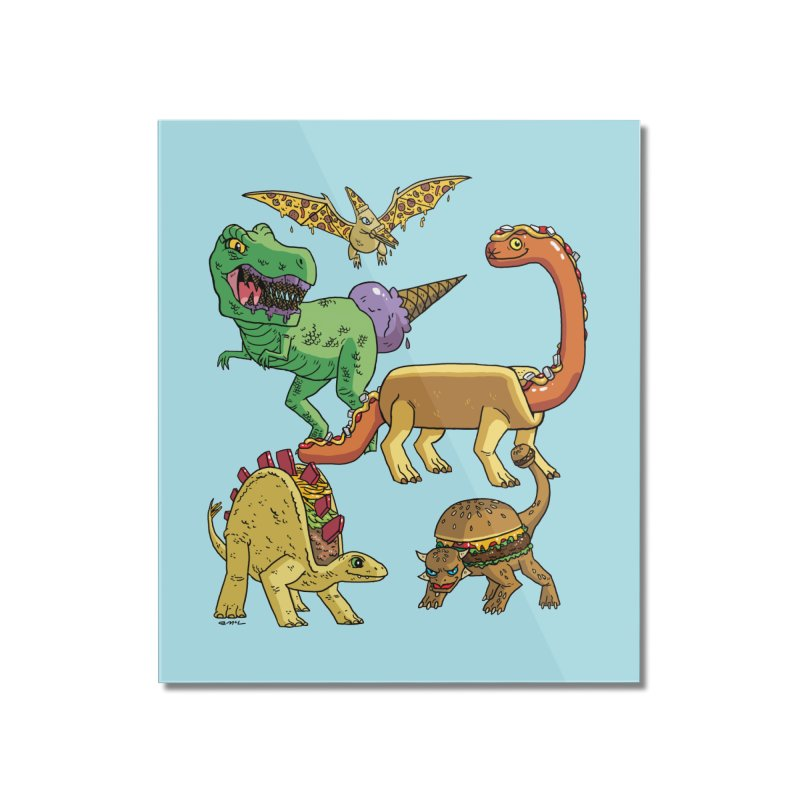 Jurassic Junk Food Home Mounted Acrylic Print by brianmcl's Artist Shop