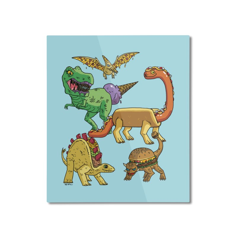 Jurassic Junk Food Home Mounted Aluminum Print by brianmcl's Artist Shop
