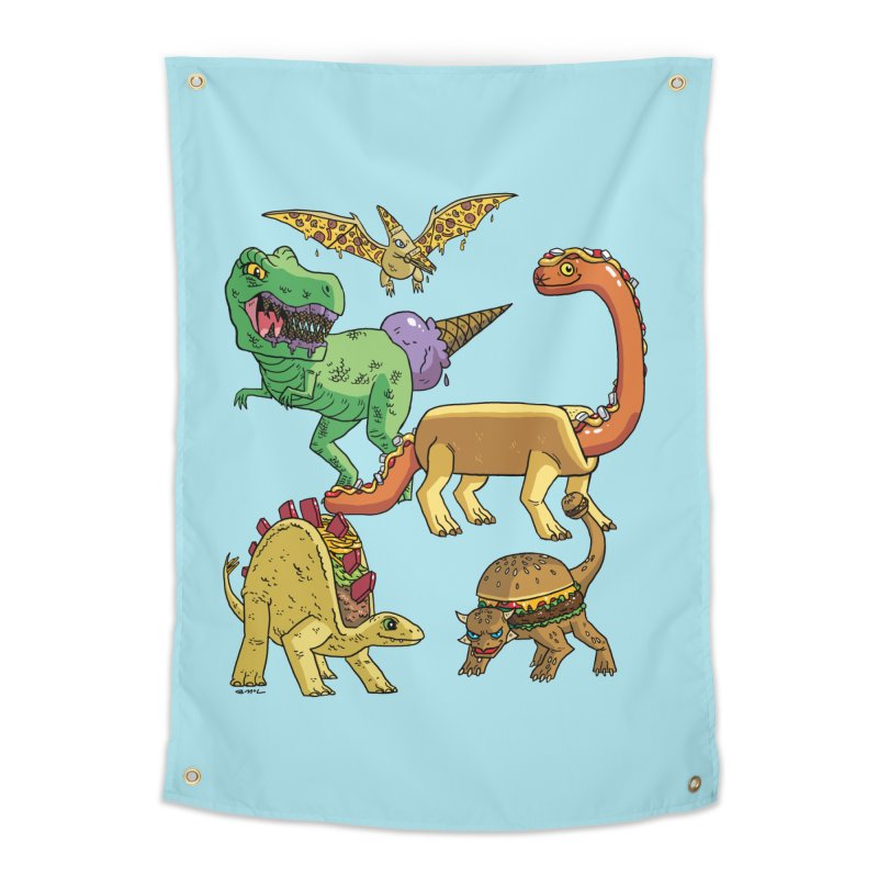 Jurassic Junk Food Home Tapestry by brianmcl's Artist Shop