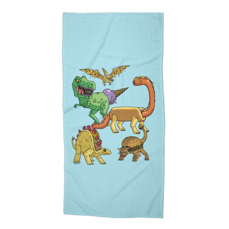 Jurassic Junk Food Accessories Beach Towel by brianmcl's Artist Shop