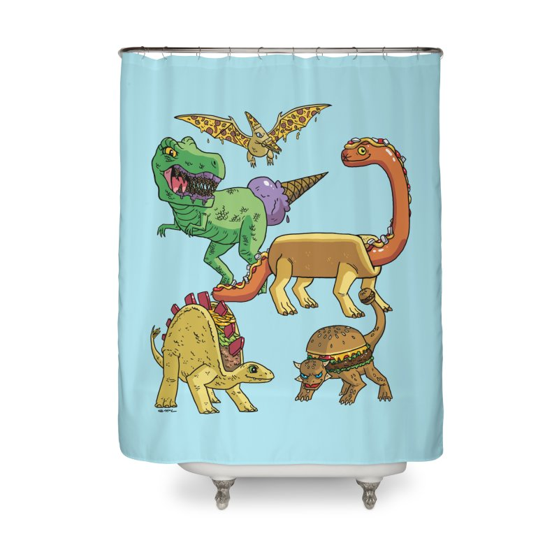 Jurassic Junk Food Home Shower Curtain by brianmcl's Artist Shop
