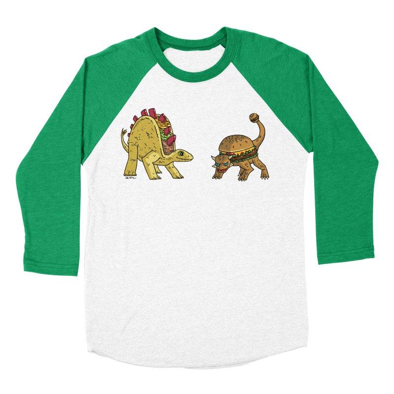 Taco and Burgersaurus Women's Baseball Triblend Longsleeve T-Shirt by brianmcl's Artist Shop