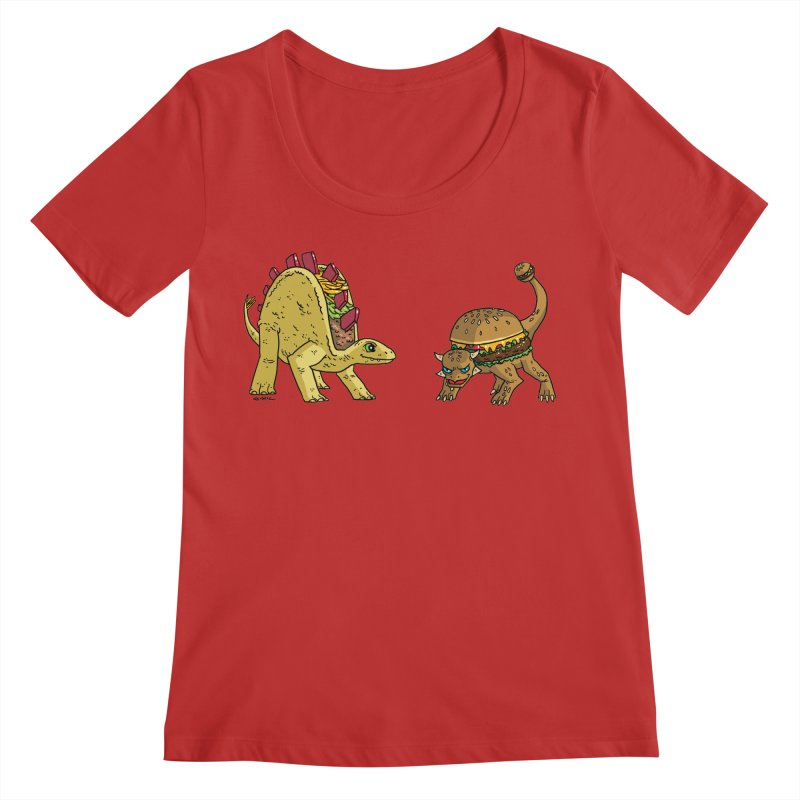 Taco and Burgersaurus Women's Regular Scoop Neck by brianmcl's Artist Shop