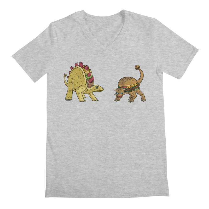 Taco and Burgersaurus Men's Regular V-Neck by brianmcl's Artist Shop