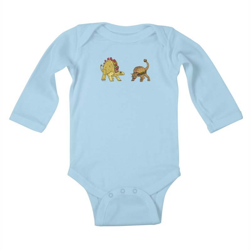 Taco and Burgersaurus Kids Baby Longsleeve Bodysuit by brianmcl's Artist Shop