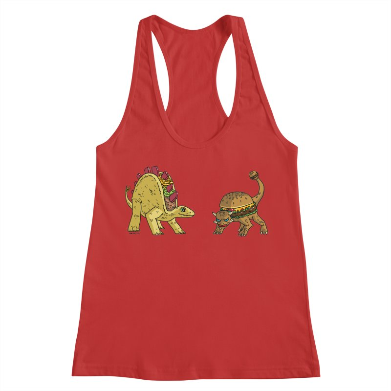 Taco and Burgersaurus Women's Racerback Tank by brianmcl's Artist Shop