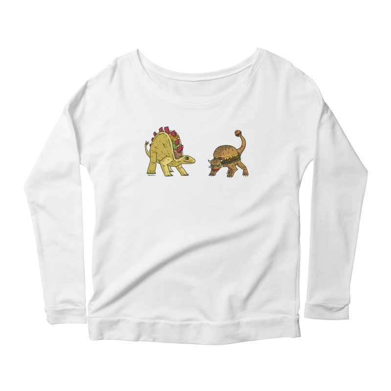 Taco and Burgersaurus Women's Scoop Neck Longsleeve T-Shirt by brianmcl's Artist Shop