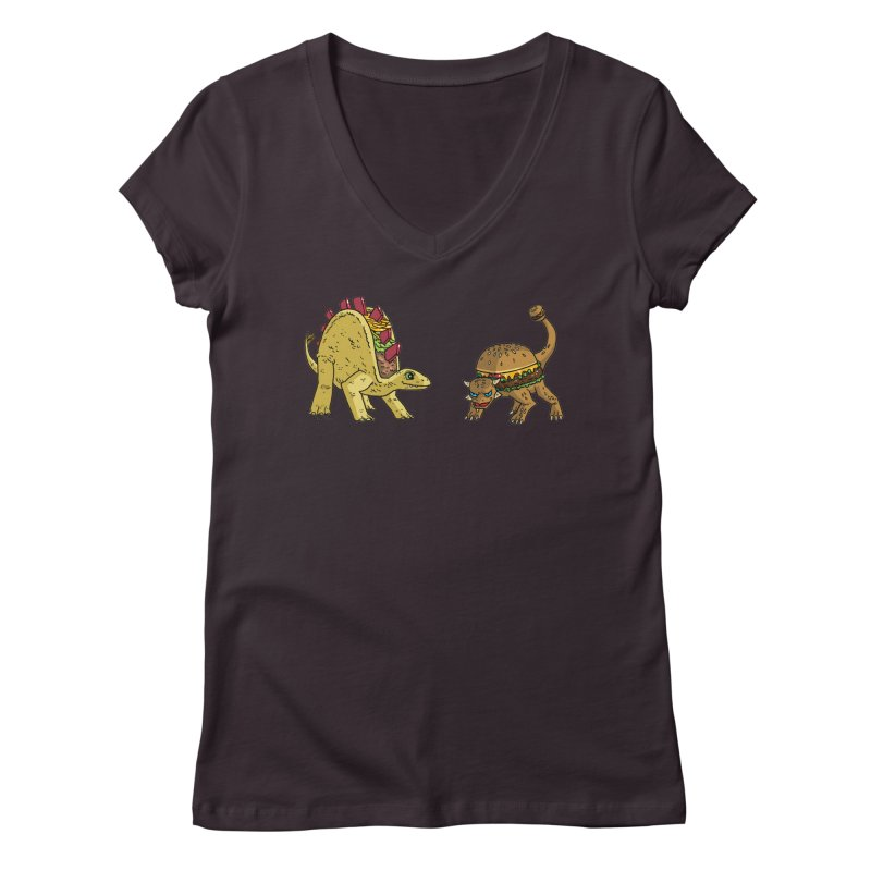 Taco and Burgersaurus Women's Regular V-Neck by brianmcl's Artist Shop