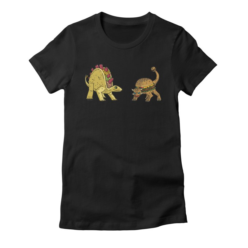 Taco and Burgersaurus Women's Fitted T-Shirt by brianmcl's Artist Shop
