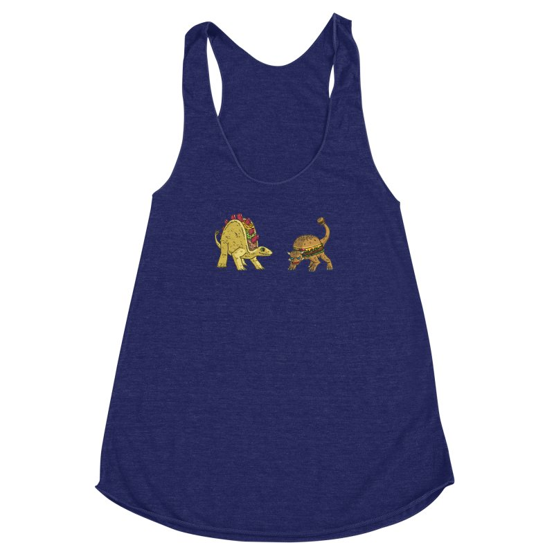 Taco and Burgersaurus Women's Racerback Triblend Tank by brianmcl's Artist Shop