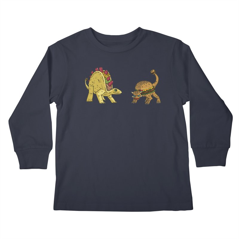 Taco and Burgersaurus Kids Longsleeve T-Shirt by brianmcl's Artist Shop
